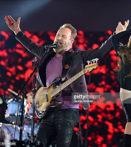 Musician Sting performs at the 2016 NBA AllStar Game at Air Canada Centre on February 14 2016 in Toronto Canada