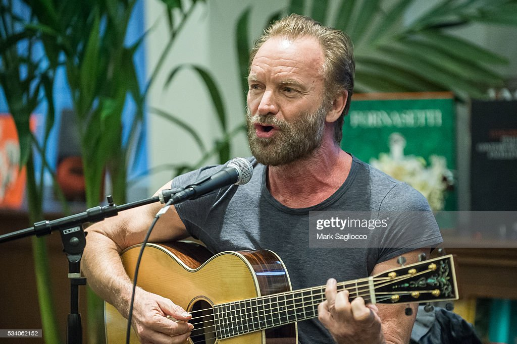 Musician <a gi-track='captionPersonalityLinkClicked' href=/galleries/search?phrase=Sting&family=editorial&specificpeople=220192 ng-click='$event.stopPropagation()'>Sting</a> performs at the Bill Jacklin Book Launch Party at Rizzoli Bookstore on May 24, 2016 in New York City.