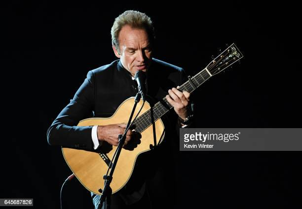 Musician Sting performs onstage during the 89th Annual Academy Awards at Hollywood Highland Center on February 26 2017 in Hollywood California