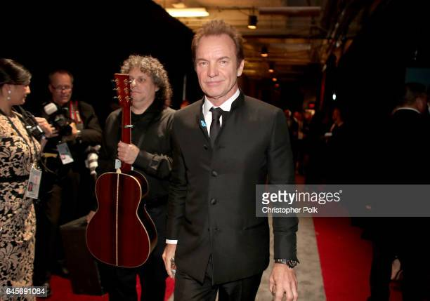 Musician Sting poses backstage during the 89th Annual Academy Awards at Hollywood Highland Center on February 26 2017 in Hollywood California