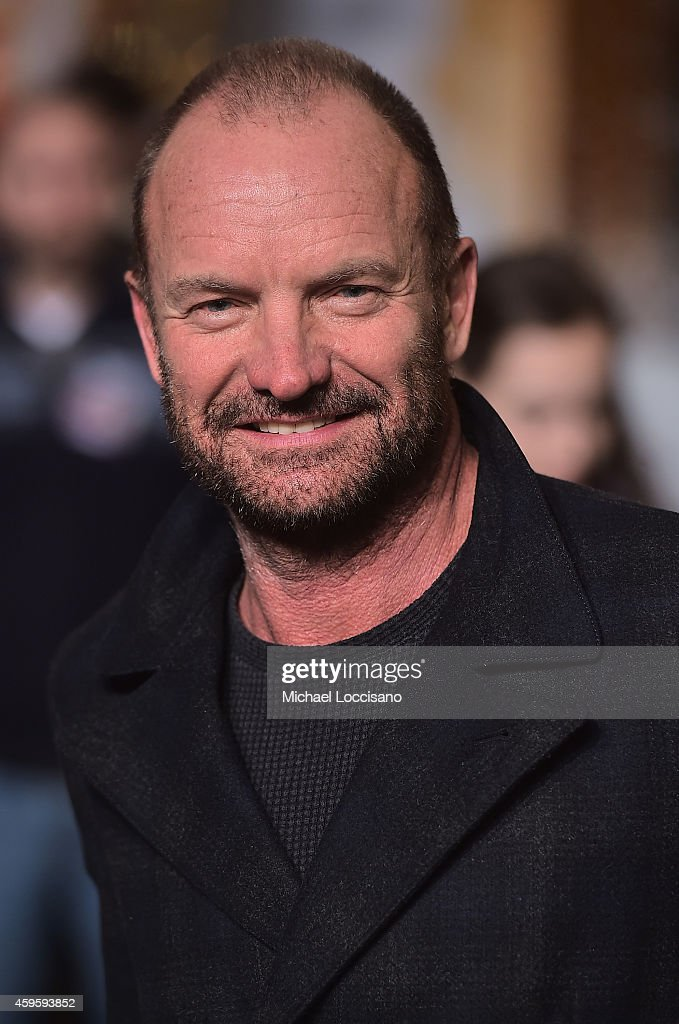 Musician Sting takes part in the 88th Annual Macy's Thanksgiving Day Parade day 2 rehearsals on November 25, 2014 in New York City.