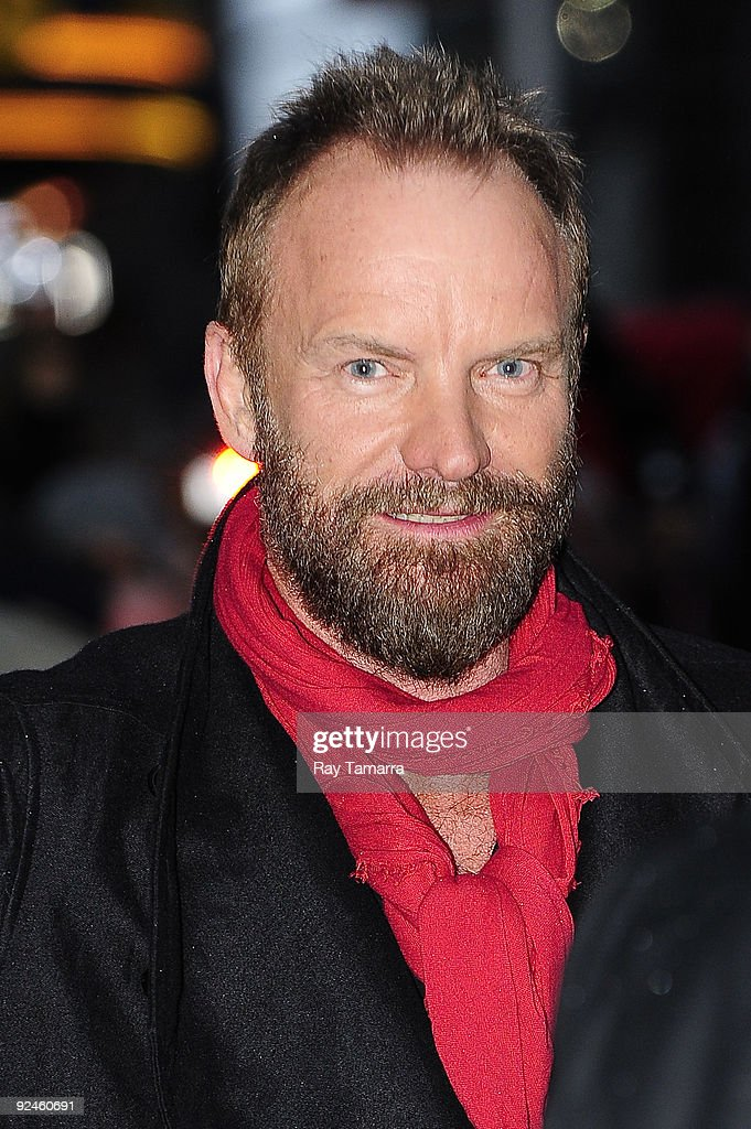 Musician <a gi-track='captionPersonalityLinkClicked' href=/galleries/search?phrase=Sting+-+Singer&family=editorial&specificpeople=220192 ng-click='$event.stopPropagation()'>Sting</a> visits the 'Late Show With David Letterman' at the Ed Sullivan Theater on October 28, 2009 in New York City.