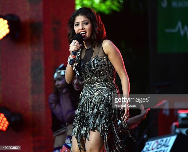 Musician Sunidhi Chauhan performs onstage at the 2015 Global Citizen Festival to end extreme poverty by 2030 in Central Park on September 26 2015 in...