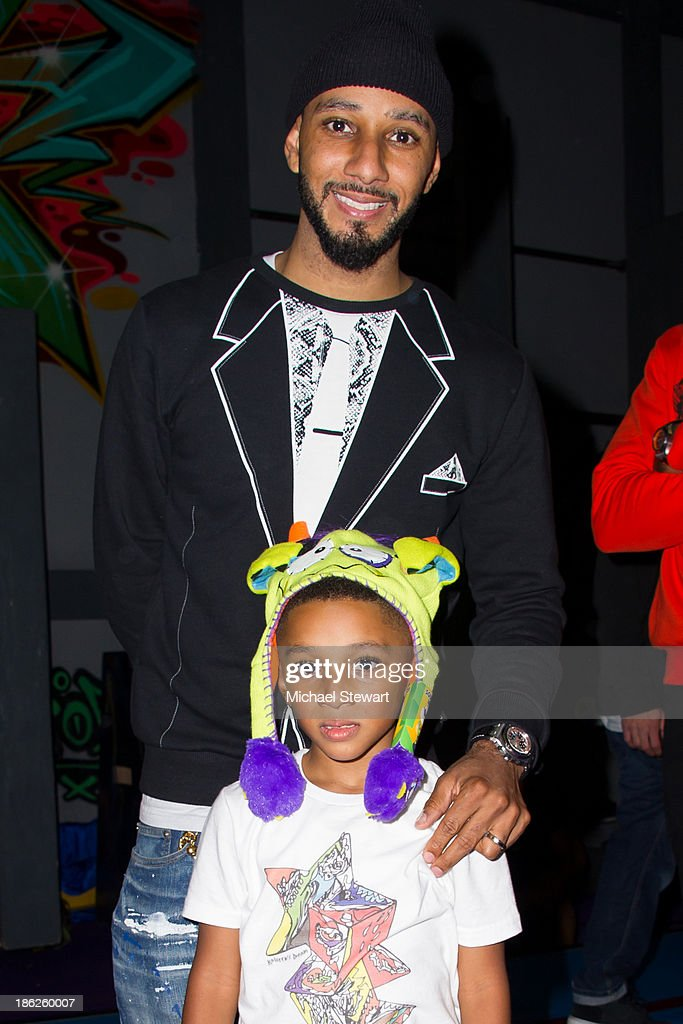 Musician <a gi-track='captionPersonalityLinkClicked' href=/galleries/search?phrase=Swizz+Beatz&family=editorial&specificpeople=567154 ng-click='$event.stopPropagation()'>Swizz Beatz</a> (T) and Kasseem Dean Jr. attend Flipeez Presents Kasseem's Dream Halloween Party at BKLYN BEAST on October 29, 2013 in Brooklyn, New York.