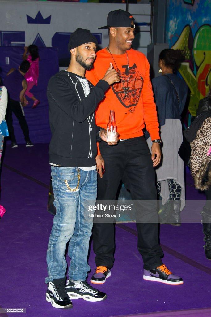Musician Swizz Beatz (L) and New York Knicks player Carmelo Anthony attend Flipeez Presents Kasseem's Dream Halloween Party at BKLYN BEAST on October 29, 2013 in Brooklyn, New York.