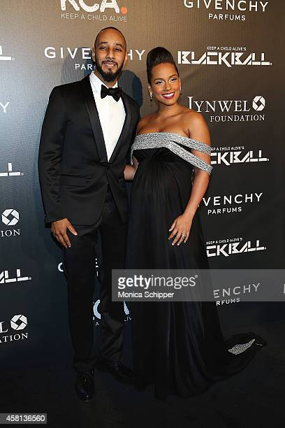 Musician Swizz Beatz and singersongwriter Alicia Keys attend the 9th annual Keep A Child Alive Black Ball at Hammerstein Ballroom on October 30 2014...
