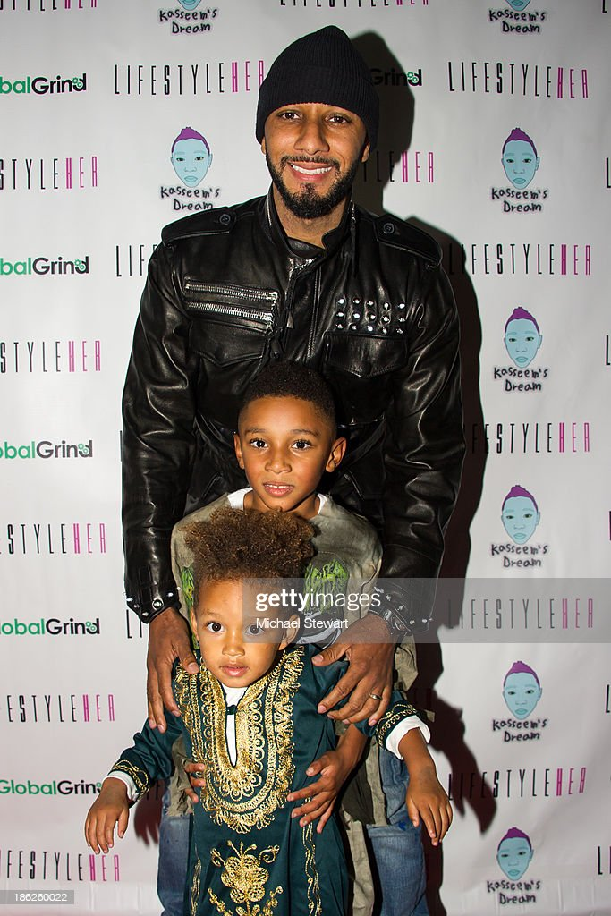 Musician <a gi-track='captionPersonalityLinkClicked' href=/galleries/search?phrase=Swizz+Beatz&family=editorial&specificpeople=567154 ng-click='$event.stopPropagation()'>Swizz Beatz</a>, Kasseem Dean Jr. and Egypt Daoud Dean attend Flipeez Presents Kasseem's Dream Halloween Party at BKLYN BEAST on October 29, 2013 in Brooklyn, New York.