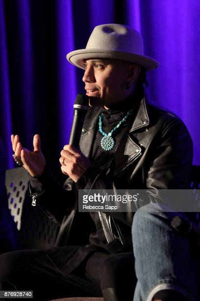 Musician Taboo speaks onstage at Reel to Reel Rumble The Indians Who Rocked The World Featuring a postscreening conversation with the filmmakers...