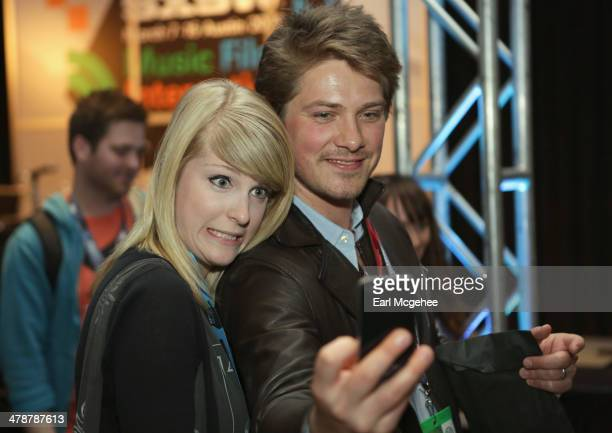 Musician Taylor Hanson takes a selfie with a fan at 'When to Tune Out the Trainwreck' during the 2014 SXSW Music Film Interactive Festival at Austin...