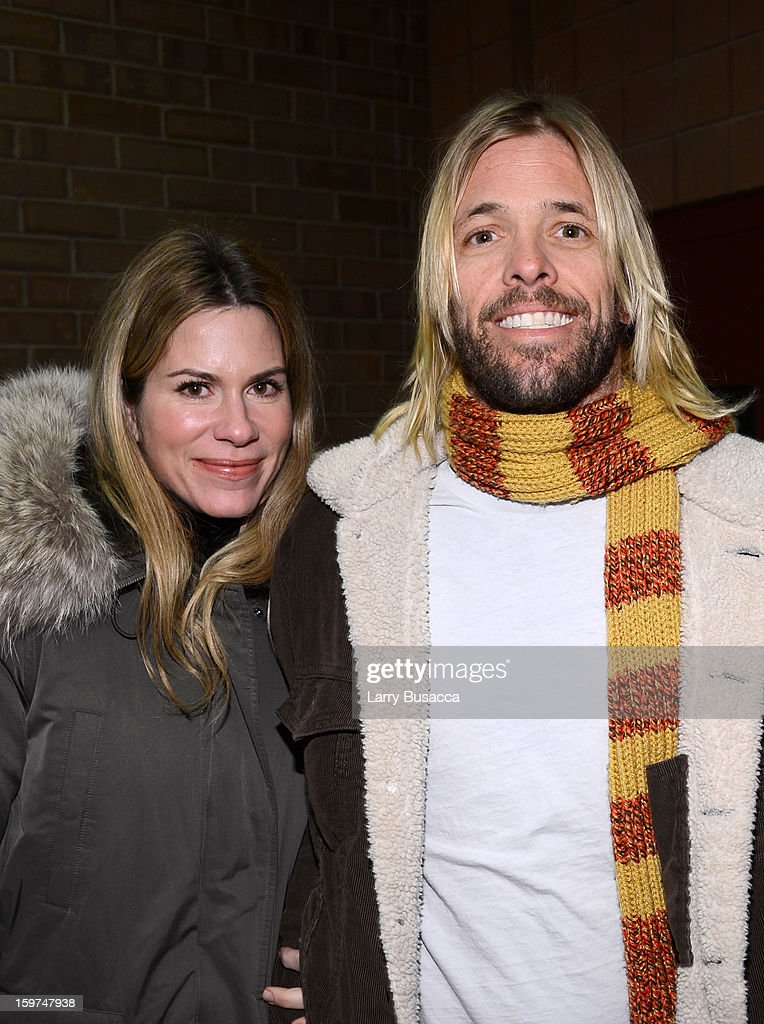 Musician <a gi-track='captionPersonalityLinkClicked' href=/galleries/search?phrase=Taylor+Hawkins&family=editorial&specificpeople=220594 ng-click='$event.stopPropagation()'>Taylor Hawkins</a> of Foo Fighters (R) and Alison Hawkins attend the 'History of the Eagles Part 1' premiere and Q&A during the 2013 Sundance Film Festival at Eccles Theater on January 19, 2013 in Park City, Utah.