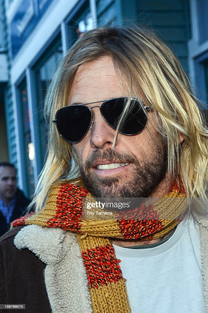 Musician <a gi-track='captionPersonalityLinkClicked' href=/galleries/search?phrase=Taylor+Hawkins&family=editorial&specificpeople=220594 ng-click='$event.stopPropagation()'>Taylor Hawkins</a>, of Foo Fighters, walks in Park City on January 19, 2013 in Park City, Utah.
