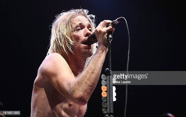 Musician Taylor Hawkins of the Sound City Players performs at Hammerstein Ballroom on February 13 2013 in New York City