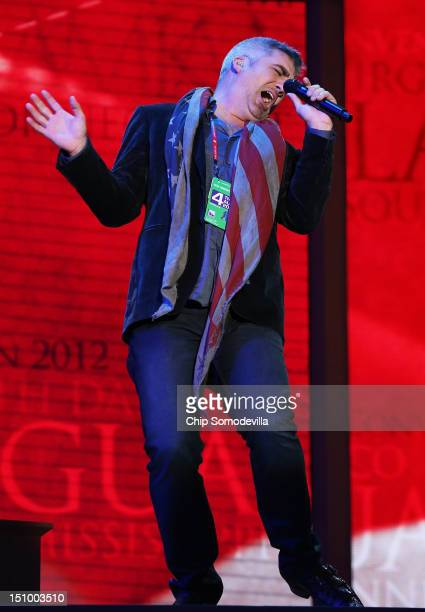Musician Taylor Hicks sings during a soundcheck during the final day of the Republican National Convention at the Tampa Bay Times Forum on August 30...