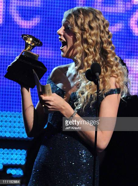 Musician Taylor Swift accepts an award onstage during the 52nd Annual GRAMMY Awards held at Staples Center on January 31 2010 in Los Angeles...