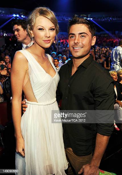 Musician Taylor Swift and actor Zac Efron attend the 2012 Teen Choice Awards at Gibson Amphitheatre on July 22 2012 in Universal City California