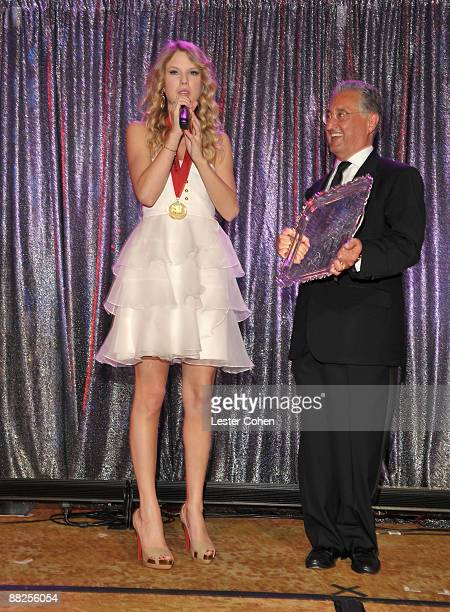 Musician Taylor Swift and BMI President and CEO Del Bryant attend BMI's 57th Annual Pop Awards held at The Beverly Wilshire Hotel on May 19 2009 in...
