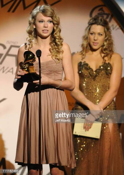 Musician Taylor Swift and singer Colbie Caillat speak onstage during the 52nd Annual GRAMMY Awards pretelecast held at Staples Center on January 31...