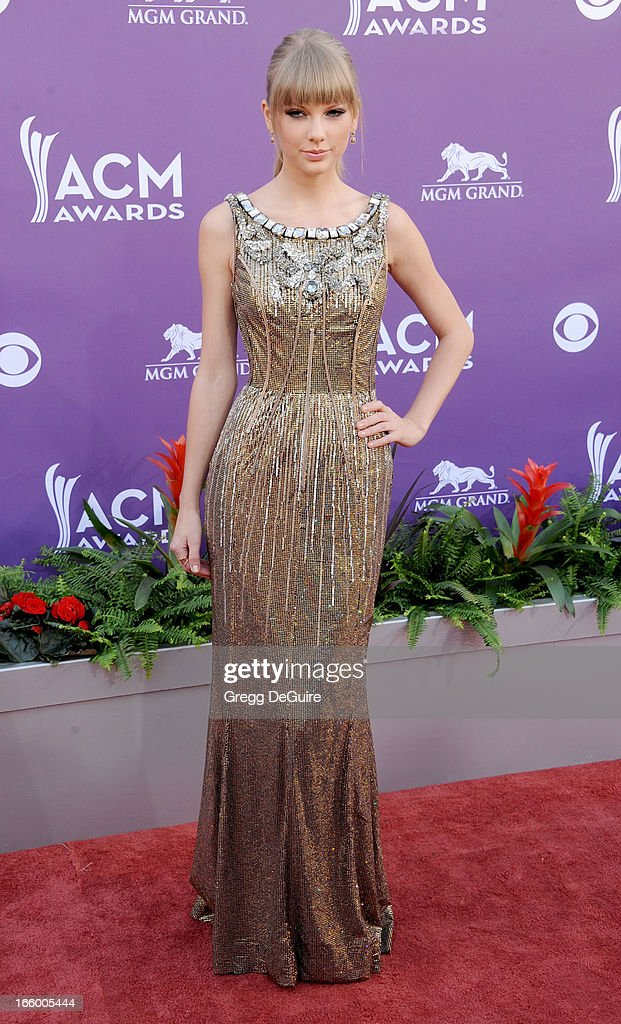 Musician Taylor Swift arrives at the 48th Annual Academy Of Country Music Awards at MGM Grand Garden Arena on April 7, 2013 in Las Vegas, Nevada.