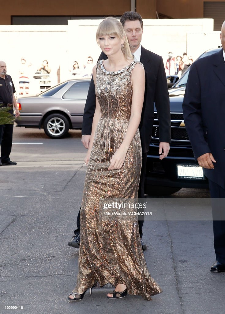 Musician <a gi-track='captionPersonalityLinkClicked' href=/galleries/search?phrase=Taylor+Swift&family=editorial&specificpeople=619504 ng-click='$event.stopPropagation()'>Taylor Swift</a> attends the 48th Annual Academy of Country Music Awards at the MGM Grand Garden Arena on April 7, 2013 in Las Vegas, Nevada.