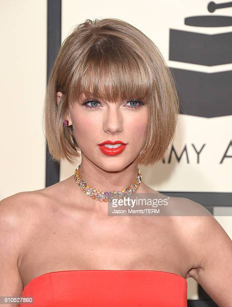 Musician Taylor Swift fashion detail attends The 58th GRAMMY Awards at Staples Center on February 15 2016 in Los Angeles California