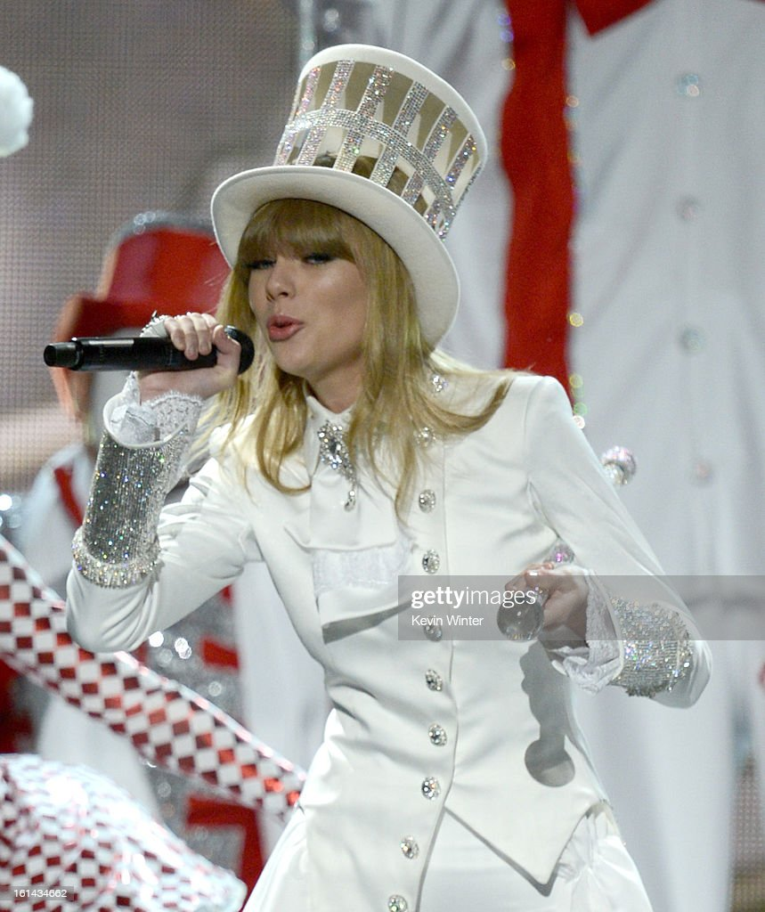 Musician Taylor Swift performs onstage during the 55th Annual GRAMMY Awards at STAPLES Center on February 10, 2013 in Los Angeles, California.