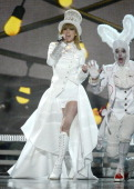 Musician Taylor Swift performs onstage during the 55th Annual GRAMMY Awards at STAPLES Center on February 10 2013 in Los Angeles California