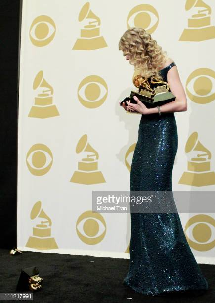 Musician Taylor Swift poses in the press room at the 52nd Annual GRAMMY Awards held at Staples Center on January 31 2010 in Los Angeles California