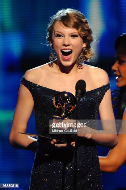 Musician Taylor Swift receives an award onstage at the 52nd Annual GRAMMY Awards held at Staples Center on January 31 2010 in Los Angeles California