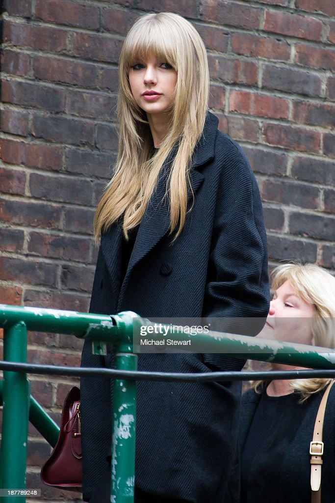 Musician <a gi-track='captionPersonalityLinkClicked' href=/galleries/search?phrase=Taylor+Swift&family=editorial&specificpeople=619504 ng-click='$event.stopPropagation()'>Taylor Swift</a> seen arriving at rehearsals for the 2013 Victoria's Secret Fashion Show on November 12, 2013 in New York City.
