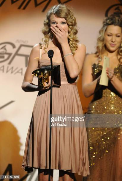 Musician Taylor Swift speaks onstage during the 52nd Annual GRAMMY Awards pretelecast held at Staples Center on January 31 2010 in Los Angeles...