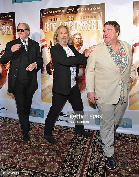 Musician TBone Burnett actor Jeff Bridges and actor John Goodman attend 'The Big Lebowski' Bluray release at the Hammerstein Ballroom on August 16...