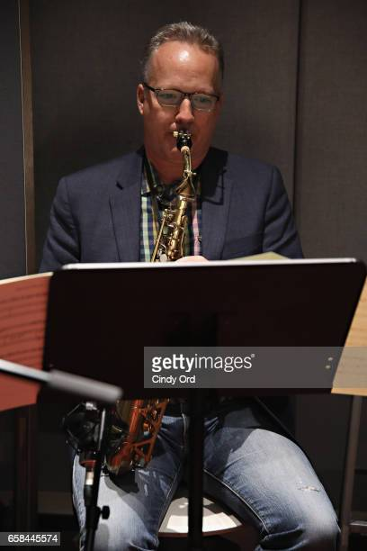Musician Ted Nash plays saxophone as Wynton Marsalis and Jon Batiste perform the music of John Lewis at Spotify Studio for Jazz at Lincoln Center's...