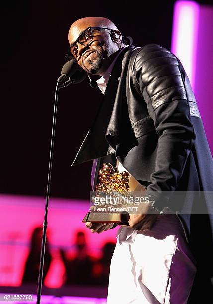 Musician Teddy Riley accepts the Legend Award onstage during the 2016 Soul Train Music Awards at the Orleans Arena on November 6 2016 in Las Vegas...
