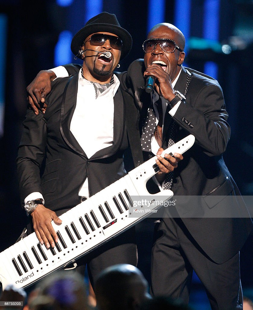Musician Teddy Riley (L) and singer Aaron Hall of the group Guy perform onstage during the 2009 BET Awards held at the Shrine Auditorium on June 28, 2009 in Los Angeles, California.