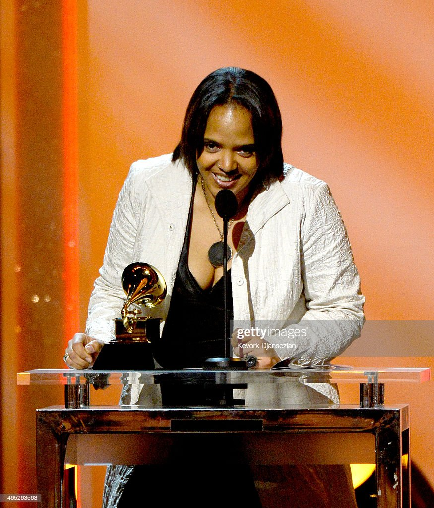 Musician Terri Lyne Carrington accepts the Best Jazz Instrumental Album award for 'Money Jungle: Provocative In Blue' onstage during the 56th GRAMMY Awards Pre-Telecast Show at Nokia Theatre L.A. Live on January 26, 2014 in Los Angeles, California.