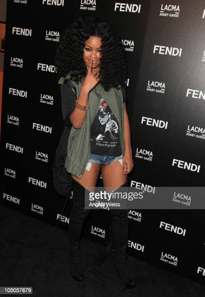 Musician Teyana Taylor arrives at the FENDI Boutique opening hosted by Chloe Sevigny and in conjunction with LACMA's AvantGarde at FENDI Beverly...