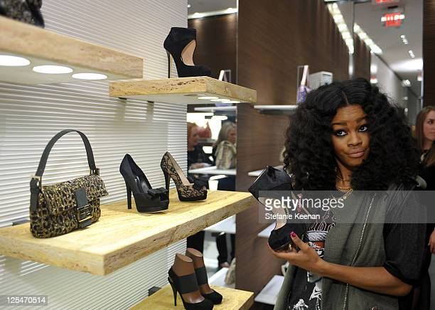 Musician Teyana Taylor attends the FENDI boutique opening hosted by Chloe Sevigny and in conjunction with LACMA at FENDI Beverly Center Boutique on...