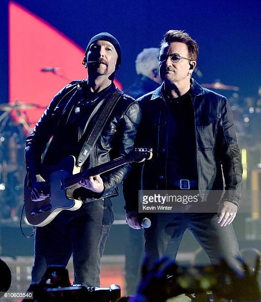 Musician The Edge and singer Bono of U2 perform onstage at the 2016 iHeartRadio Music Festival at TMobile Arena on September 23 2016 in Las Vegas...