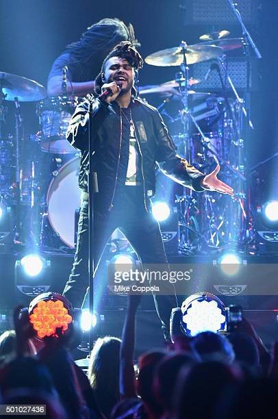 Musician The Weeknd performs onstage during Z100's Jingle Ball 2015 at Madison Square Garden on December 11 2015 in New York City