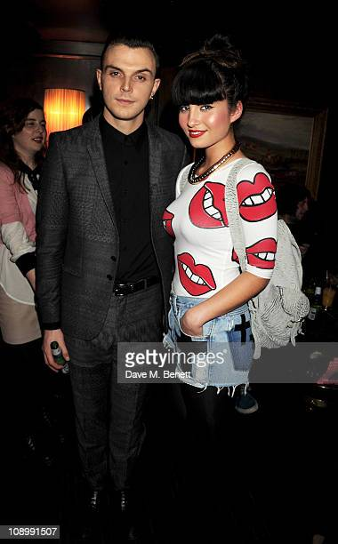 Musician Theo Hutchcraft of Hurts and singer Yasmin attend Wonderland Magazine's Spring Fashion Issue party on February 10 2011 in London England