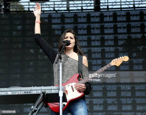 Musician Theresa Wayman of Warpaint performs at the Twin Peaks Stage during day 1 of the 2014 Outside Lands Music and Arts Festival at Golden Gate...