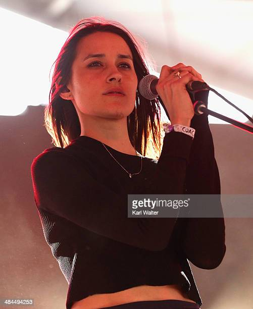 Musician Theresa Wayman of Warpaint performs onstage during day 2 of the 2014 Coachella Valley Music Arts Festival at the Empire Polo Club on April...