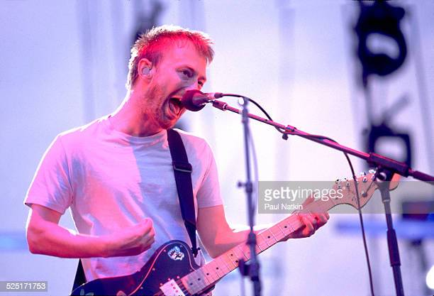 Musician Thom Yorke of group Radiohead performs Chicago Illinois August 3 2001
