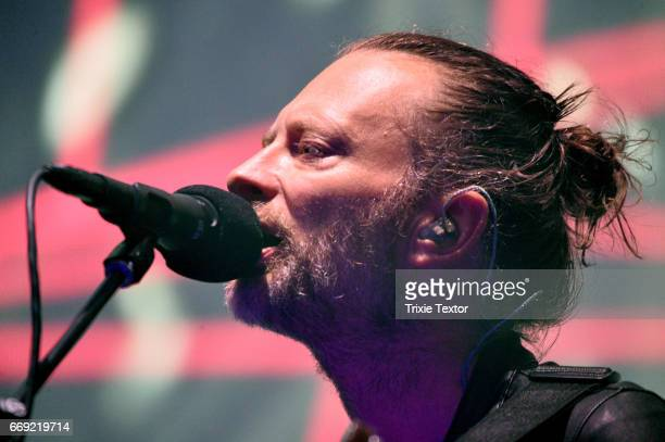 Musician Thom Yorke of Radiohead performs on the Coachella Stage during day 1 of the Coachella Valley Music And Arts Festival at the Empire Polo Club...