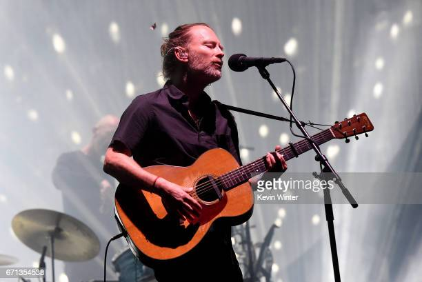 Musician Thom Yorke of Radiohead performs on the Coachella Stage during day 1 of the 2017 Coachella Valley Music Arts Festival at the Empire Polo...