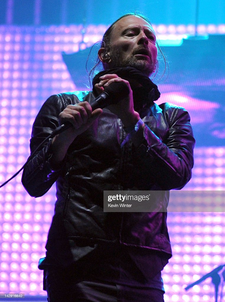 Musician <a gi-track='captionPersonalityLinkClicked' href=/galleries/search?phrase=Thom+Yorke&family=editorial&specificpeople=216542 ng-click='$event.stopPropagation()'>Thom Yorke</a> of Radiohead performs onstage during day 2 of the 2012 Coachella Valley Music & Arts Festival at the Empire Polo Field on April 14, 2012 in Indio, California.