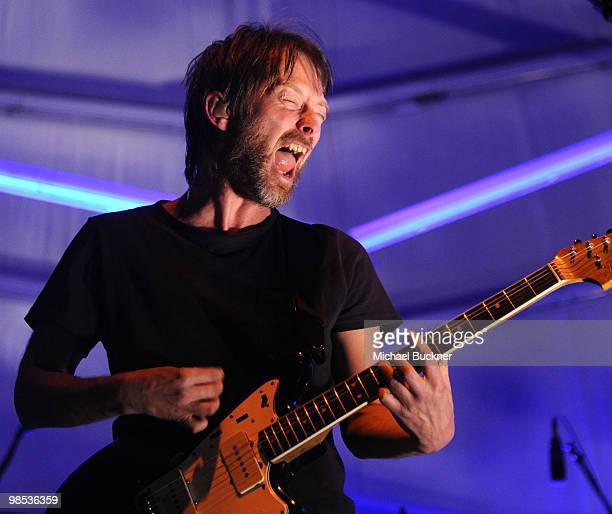 Musician Thom Yorke of the band Atoms for Peace performs during day 3 of the Coachella Valley Music Art Festival 2010 held at The Empire Polo Club on...