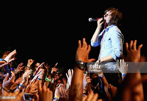 Musician Thomas Mars of Phoenix performs at Which Stage during day 2 of the 2014 Bonnaroo Arts And Music Festival on June 13 2014 in Manchester...
