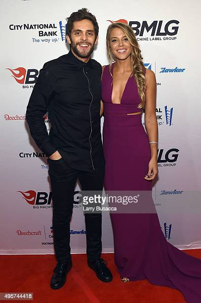 Musician Thomas Rhett and Lauren Gregory attend as Big Machine Label Group celebrates The 49th Annual CMA Awards at Rosewall on November 4 2015 in...