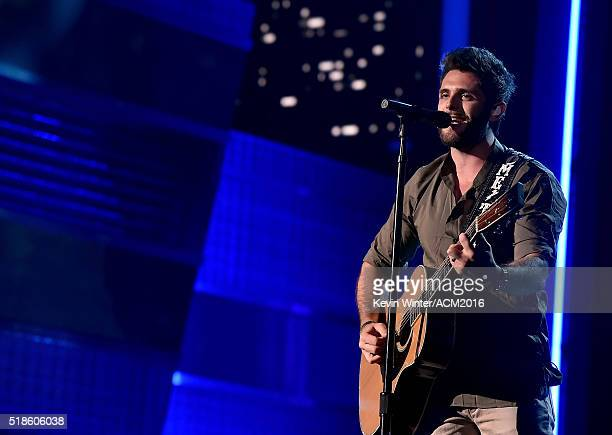 Musician Thomas Rhett rehearses onstage during the 51st Academy of Country Music Awards at MGM Grand Garden Arena on April 1 2016 in Las Vegas Nevada
